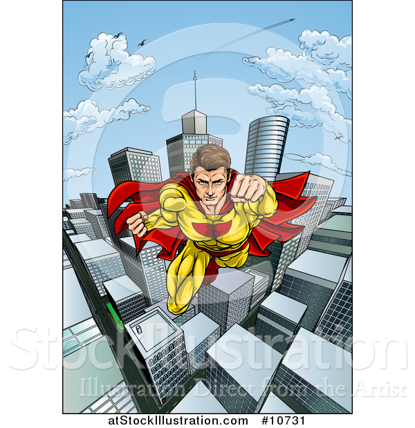 Vector Illustration of a Pop Art Comic Caucaslan Male Super Hero Flying Forward over a City