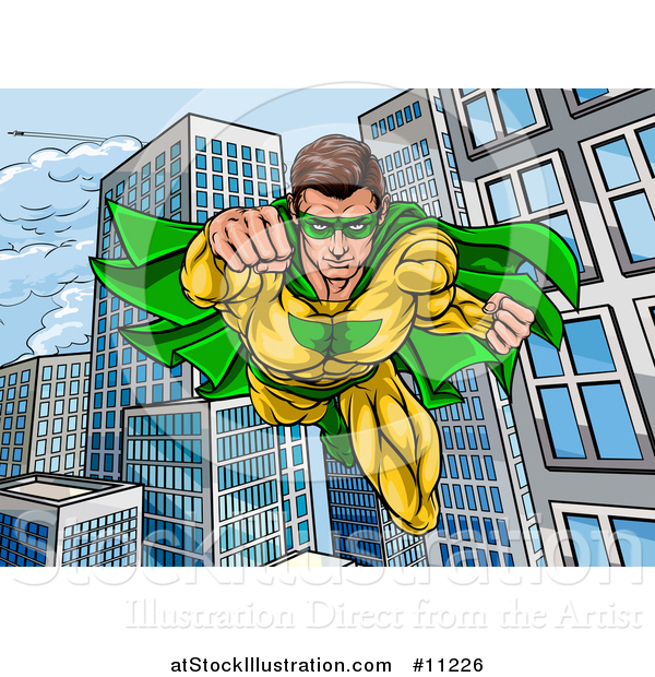Vector Illustration of a Pop Art Comic Male Super Hero Flying Forward over a City