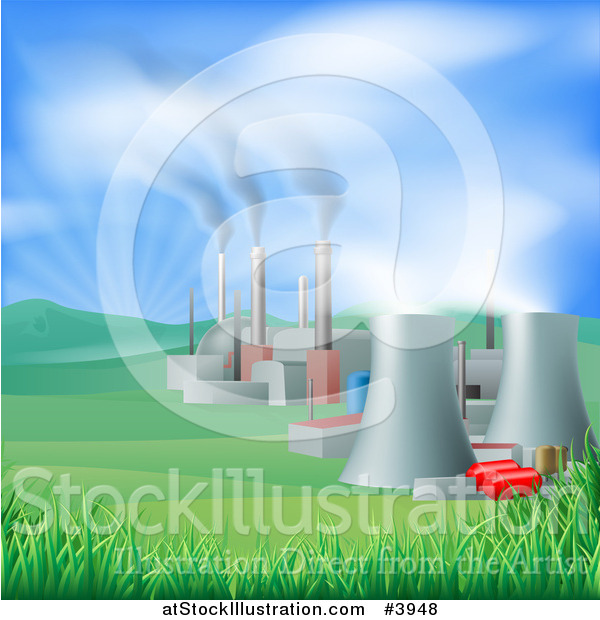 Vector Illustration of a Power Plant with Smoke Stacks and Nuclear Structures