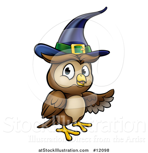 Vector Illustration of a Presenting Witch Owl Wearing a Hat