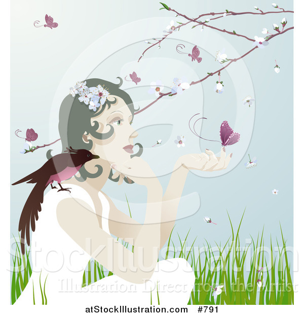 Vector Illustration of a Pretty Gentle Woman with a Bird on Her Shoulder and a Butterfly on Her Hand, Sitting Outdoors in Spring Time