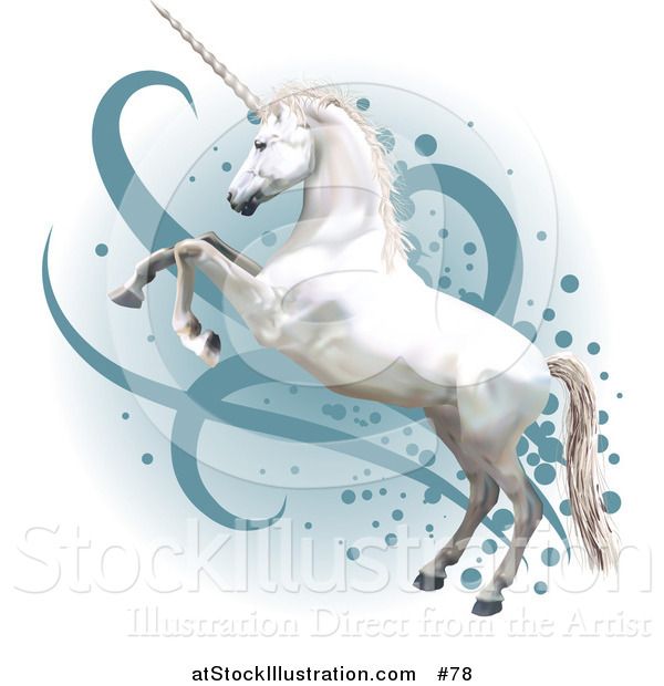 Vector Illustration of a Pretty White Unicorn Rearing up on Its Hind Legs