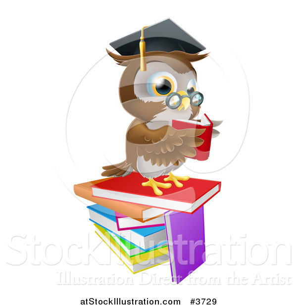 Vector Illustration of a Professor Owl Reading on a Stack of Books