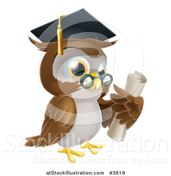 Vector Illustration of a Professor Owl Wearing a Graduation Cap and Holding a Certificate