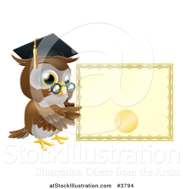 Vector Illustration of a Professor Owl with a Diploma and Graduation Cap