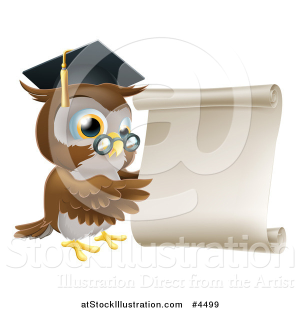 Vector Illustration of a Professor Owl with Glasses and Graduation Cap, Pointing to a Scroll