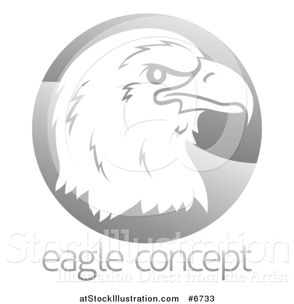 Vector Illustration of a Profiled Bald Eagle or Falcon Head on a Shiny Gray Circle Above Sample Text