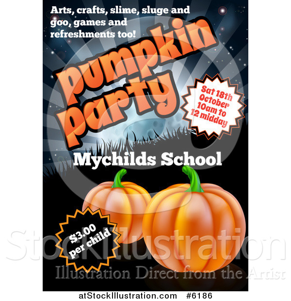 Vector Illustration of a Pumpkin Halloween Party Invitation Design for a Children's School, with Sample Text