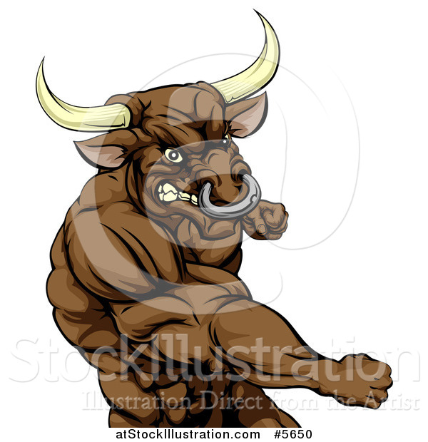 Vector Illustration of a Punching Muscular Bull Man Mascot