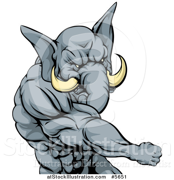 Vector Illustration of a Punching Muscular Elephant Man Mascot