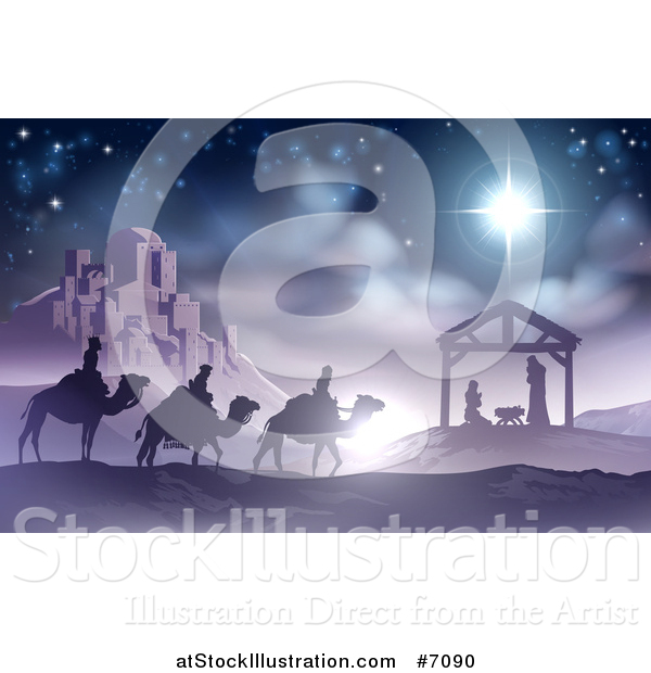 Vector Illustration of a Purple and Blue Toned Nativity Scene of Baby Jesus in the Manger with the Wise Men and Star of Bethlehem near the City