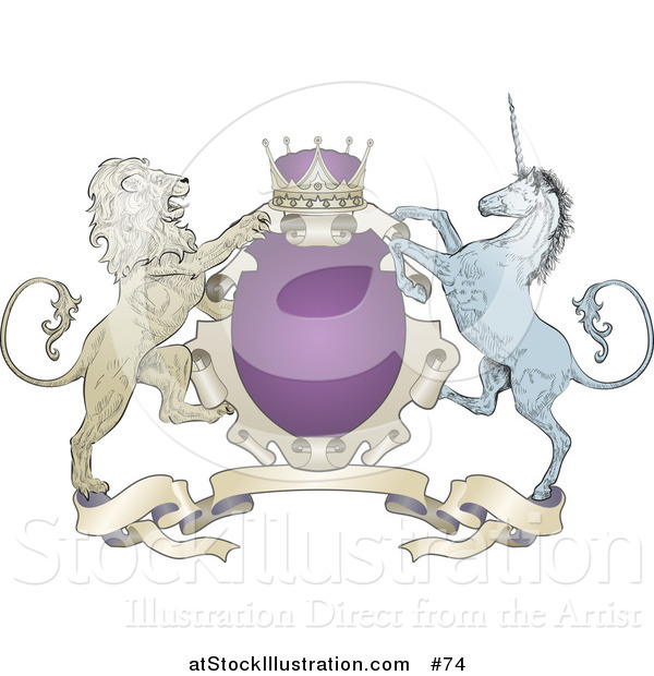 Vector Illustration of a Purple Crown, Lion, and Blue Unicorn on a Coat of Arms
