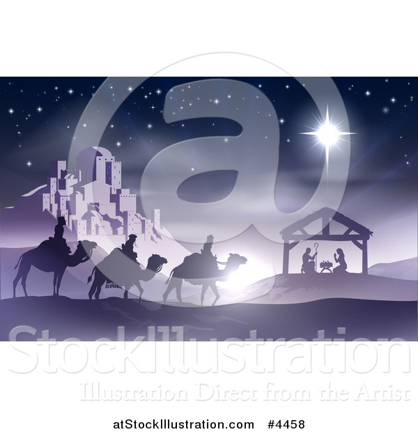 Vector Illustration of a Purple Nativity Scene of Baby Jesus in the Manger with the Wise Men and Star of Bethlehem near the City