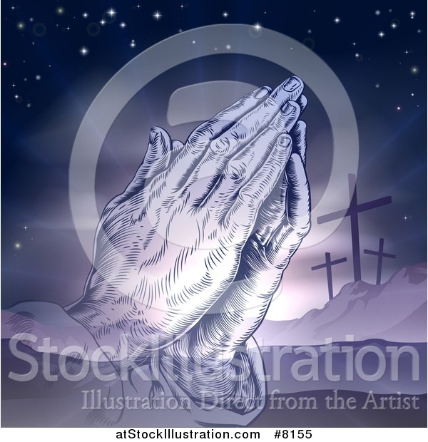 Vector Illustration of a Purple Toned Christian Easter Background of Praying Hands over Two Thieves Crosses on Calvary Hill