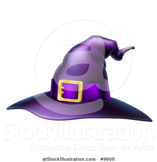 Vector Illustration of a Purple Witch Hat