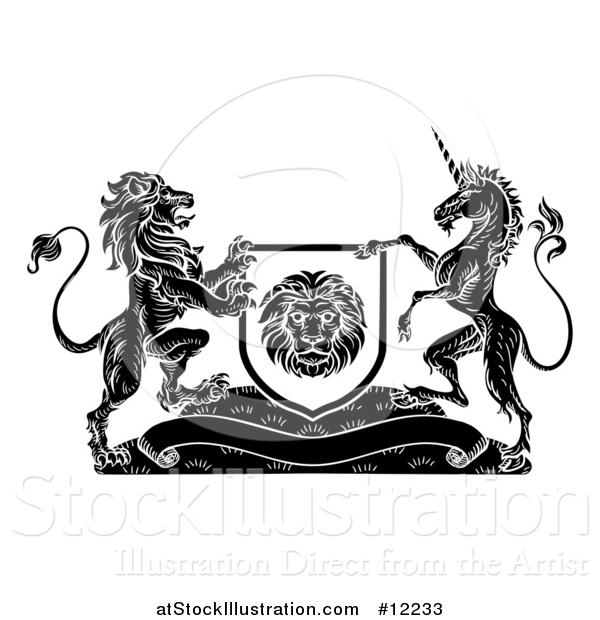 Vector Illustration of a Rampant Lion and Unicorn Flanking a Shield over a Banner, Black and White Woodcut