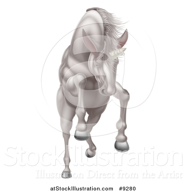 Vector Illustration of a Rearing, Charging or Jumping White Unicorn