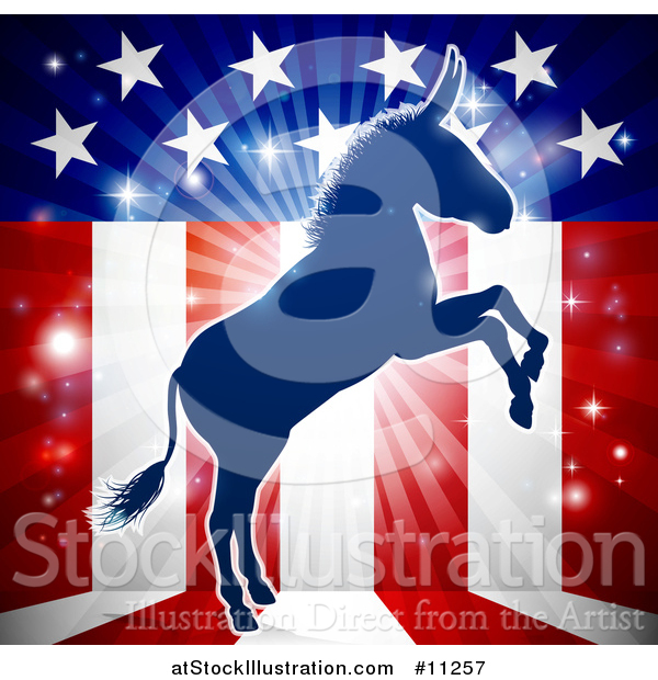 Vector Illustration of a Rearing Democratic Donkey over an American Flag Themed Burst
