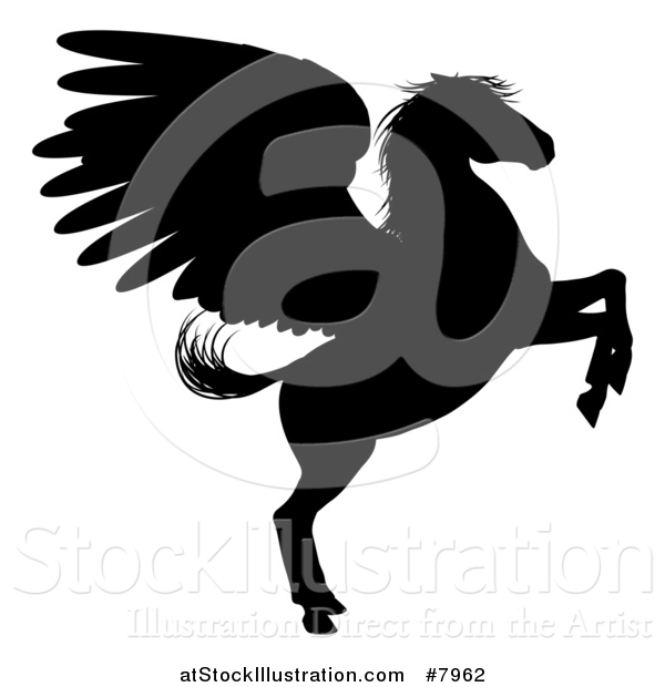Vector Illustration of a Rearing Winged Pegasus Horse
