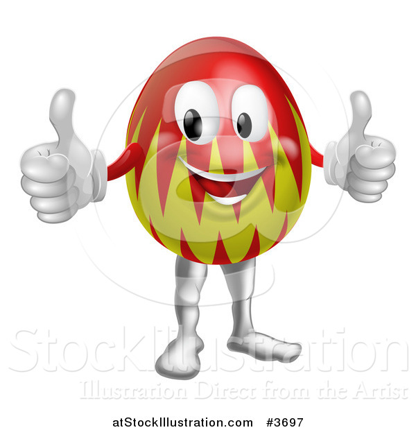 Vector Illustration of a Red and Green Easter Egg Mascot Holding Two Thumbs up