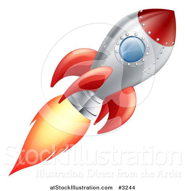 Vector Illustration of a Red and Metal Space Rocket Flying