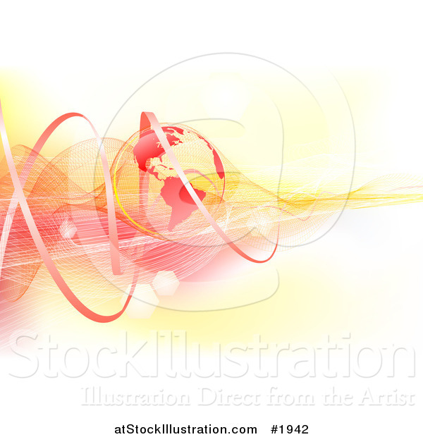 Vector Illustration of a Red and Yellow Global Communications Background