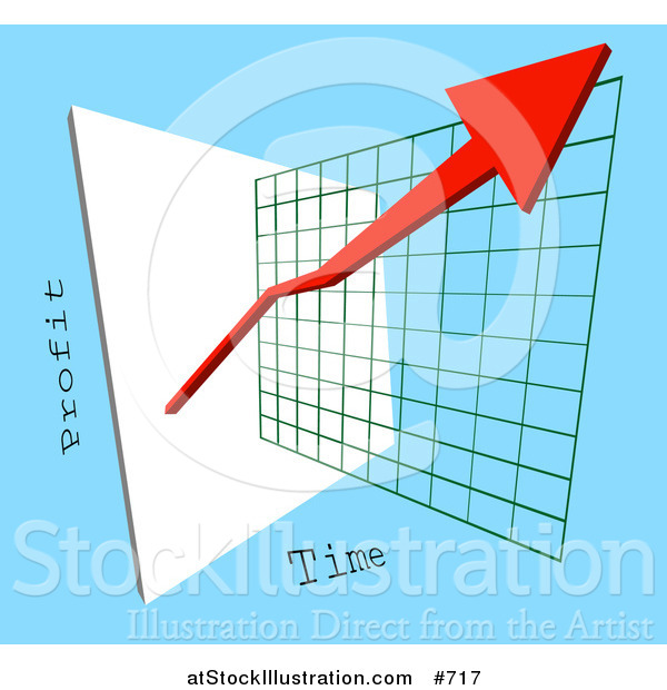 Vector Illustration of a Red Arrow Depicting an Increase of Profits on a Graph