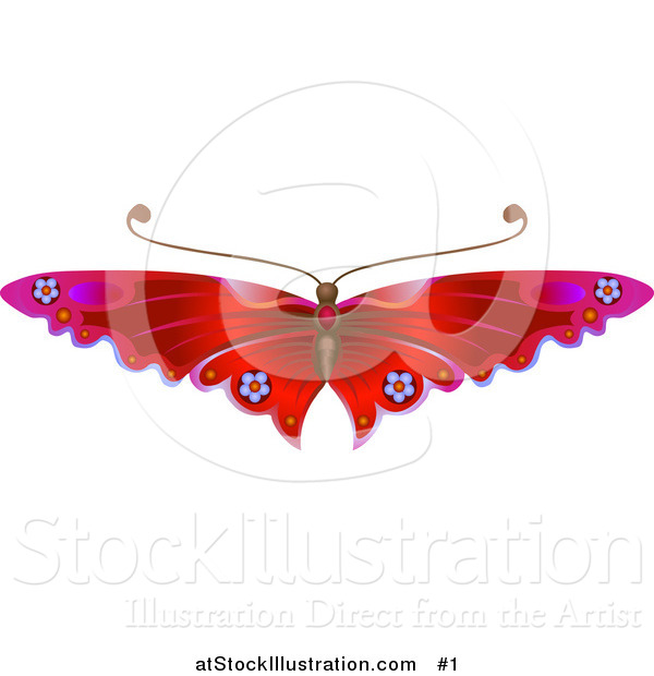 Vector Illustration of a Red Butterfly with Flower Decoration on the Wings