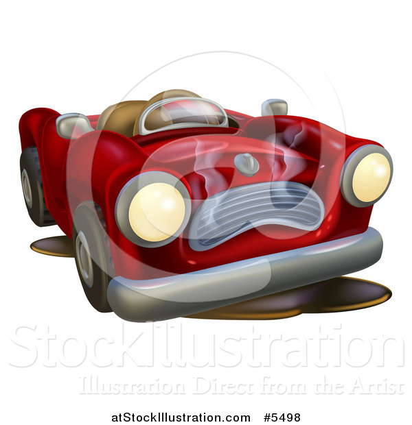 Vector Illustration of a Red Car Character Broken down with Oil