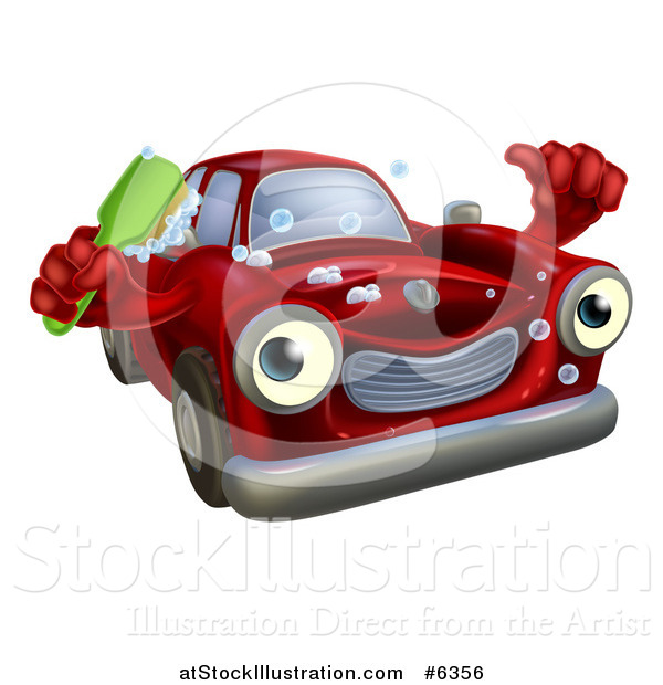 Vector Illustration of a Red Car Character Holding a Thumb up and a Scrub Brush