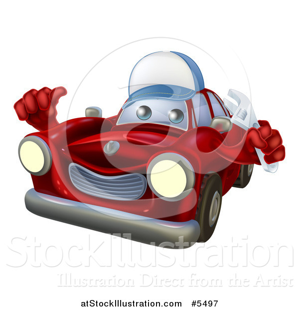 Vector Illustration of a Red Car Character Mechanic Holding a Wrench and Thumb up