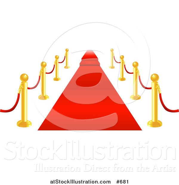 Vector Illustration of a Red Carpet, Brass Posts and Velvet Ropes