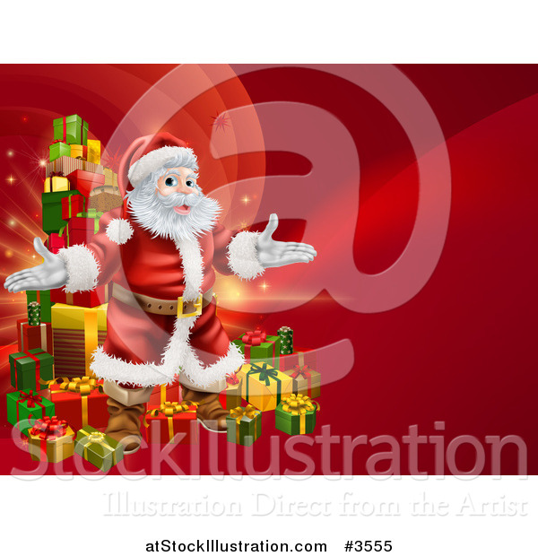 Vector Illustration of a Red Christmas Background with Santa and a Tower of Gifts