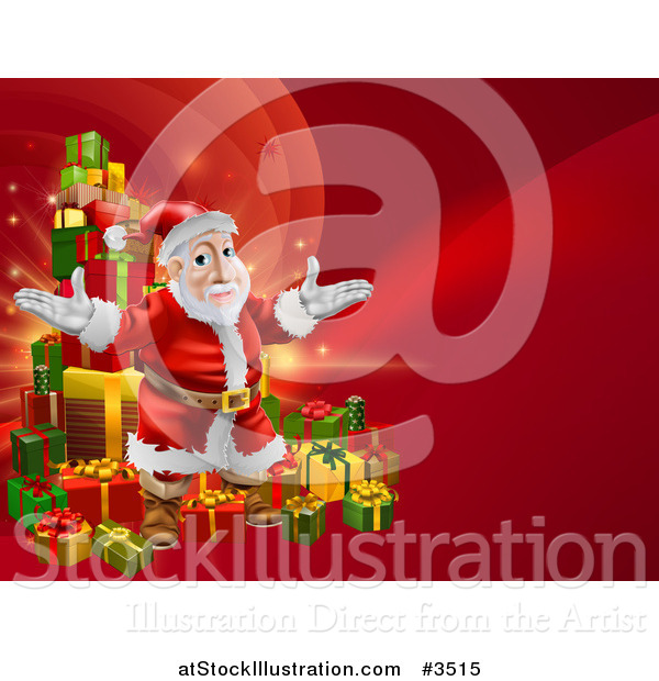 Vector Illustration of a Red Christmas Background with Santa and a Tower of Presents