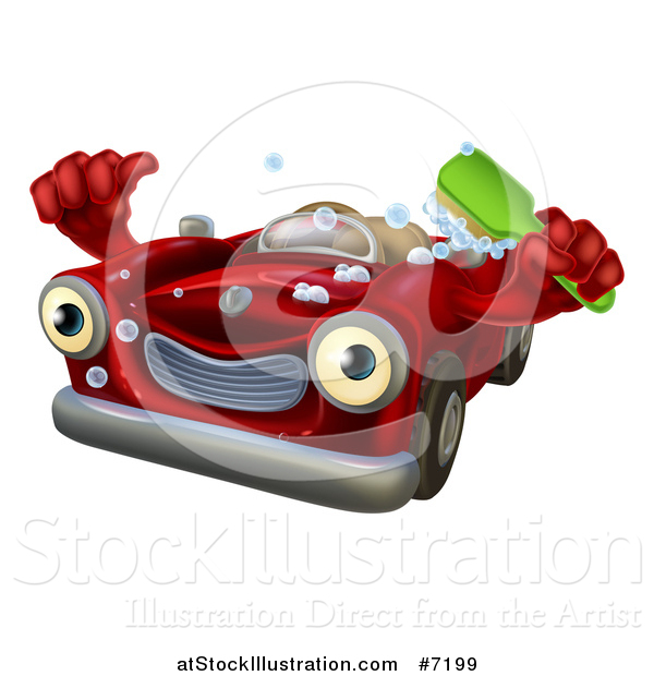 Vector Illustration of a Red Convertible Car Character Holding a Thumb up and a Green Scrub Brush