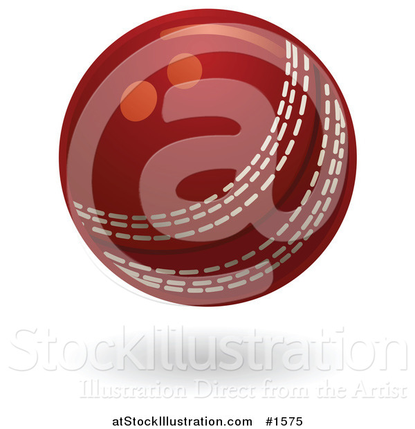 Vector Illustration of a Red Cricket Ball with White Stitching