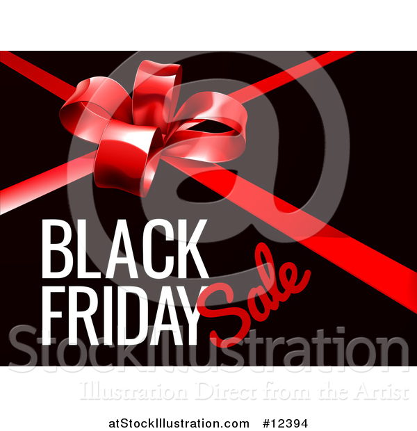 Vector Illustration of a Red Gift Bow and Black Friday Sale Text on Black