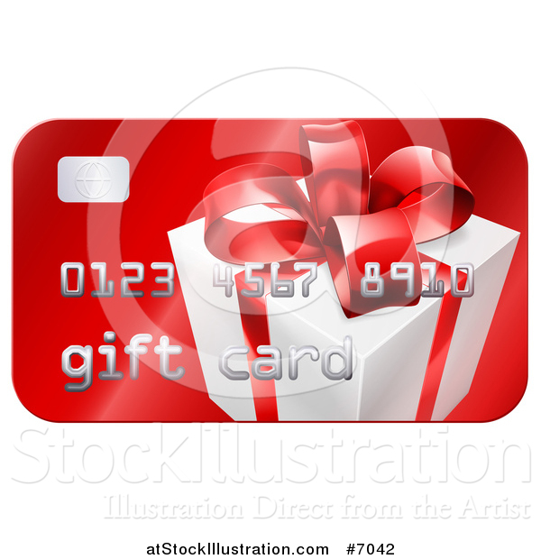 Vector Illustration of a Red Gift Card with a Present Graphic