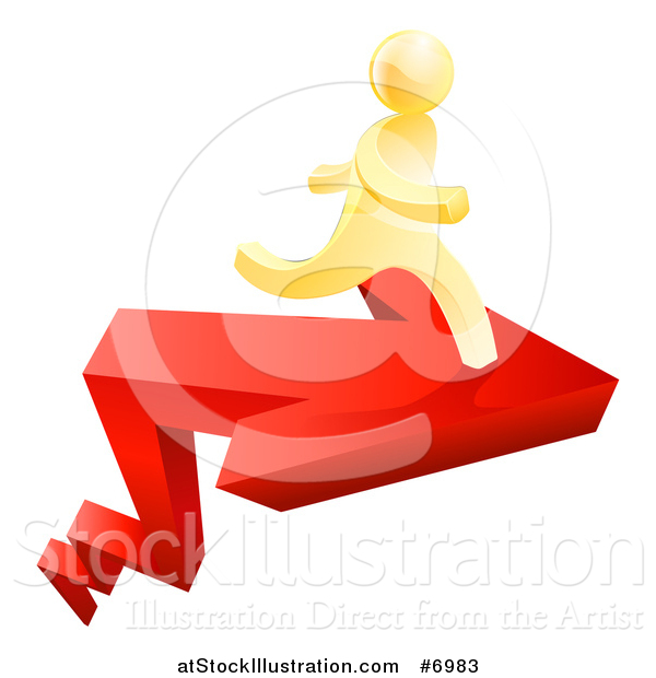 Vector Illustration of a Red Growth Arrow and 3d Gold Man Running on Top