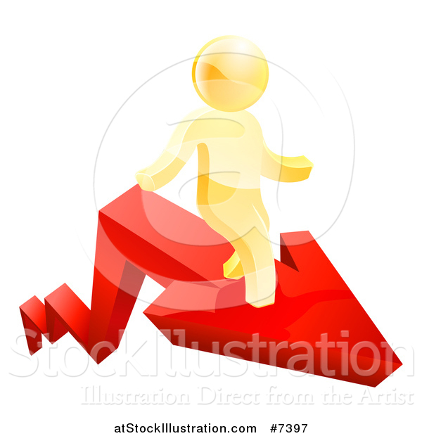 Vector Illustration of a Red Growth Arrow and 3d Gold Man Walking on Top