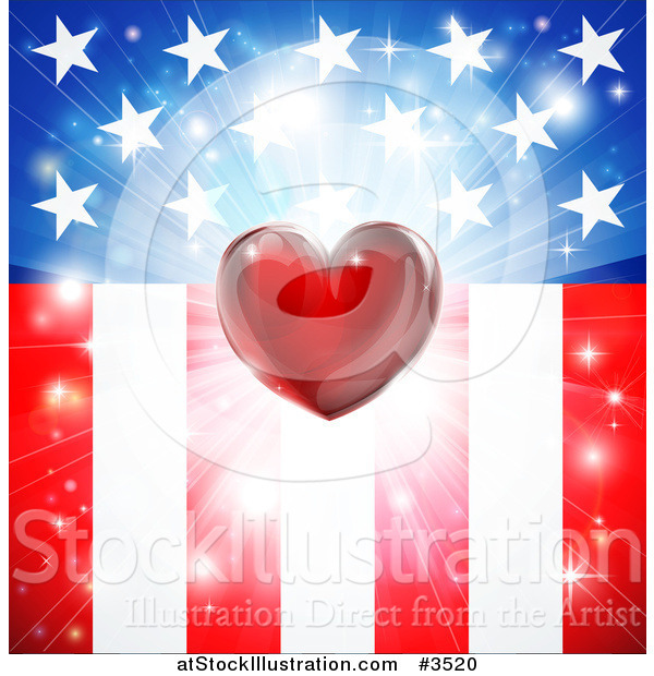 Vector Illustration of a Red Heart and Burst over American Stars and Stripes Flag