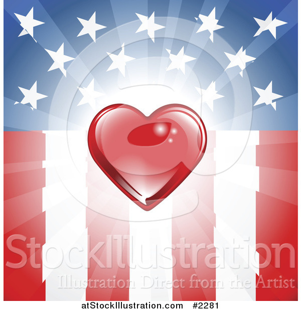 Vector Illustration of a Red Heart over an American Flag