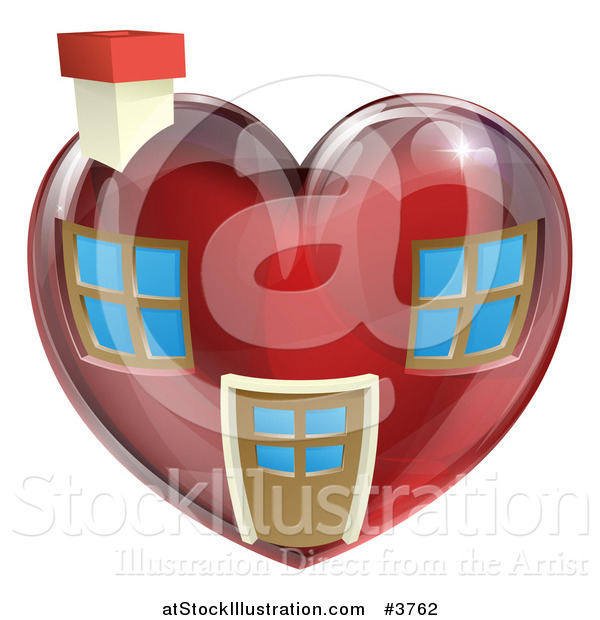 Vector Illustration of a Red Heart Shaped Home