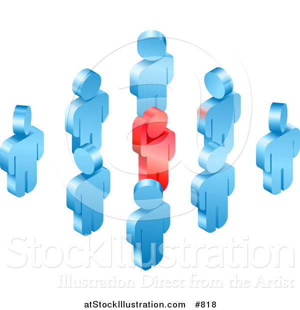 Vector Illustration of a Red Individual Raising Their Hand While Standing in a Group of Blue Employees or Volunteers