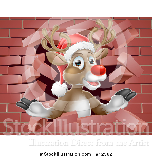 Vector Illustration of a Red Nosed Christmas Reindeer Breaking Through a Brick Wall