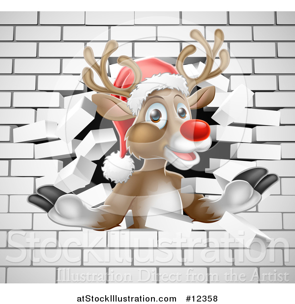 Vector Illustration of a Red Nosed Christmas Reindeer Breaking Through a White Brick Wall