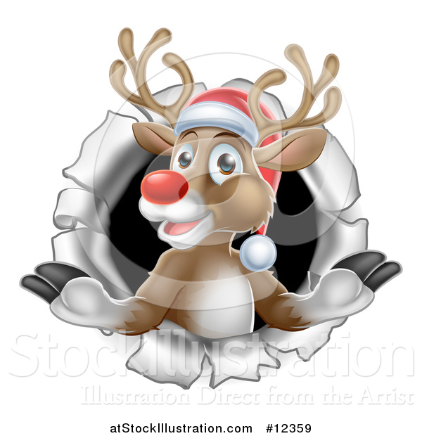 Vector Illustration of a Red Nosed Christmas Reindeer in a Hole in a Wall