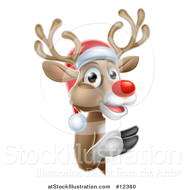 Vector Illustration of a Red Nosed Christmas Reindeer Looking Around a Sign