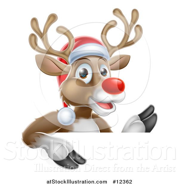 Vector Illustration of a Red Nosed Christmas Reindeer over a Sign