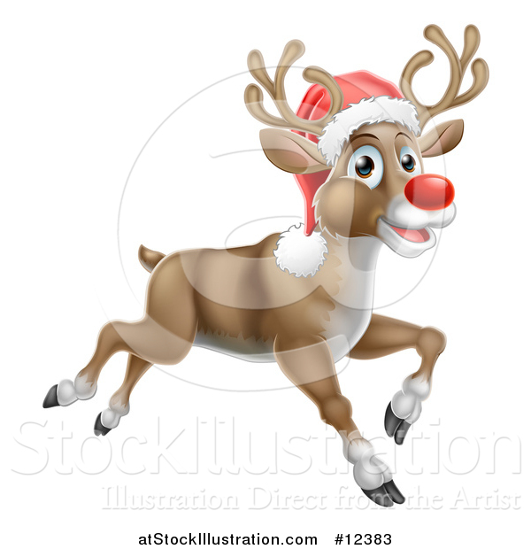 Vector Illustration of a Red Nosed Christmas Reindeer Running or Flying